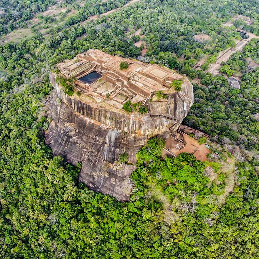 Aerial View of Sigiriya Rock Fortress