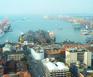 Aerial View of the Colombo Harbor