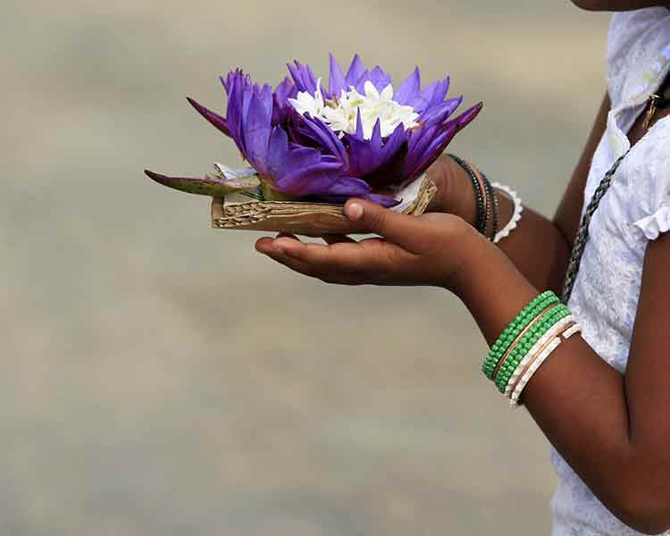 A Lady With Lotus in Mihintale